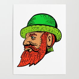 Hipster Wearing Bowler Hat Etching Color Poster
