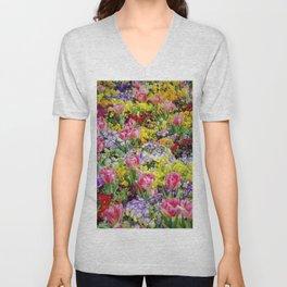 A Springtime for Tulips, Still Life Painting Unisex V-Neck
