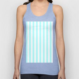 Narrow Vertical Stripes - White and Celeste Cyan Unisex Tank Top