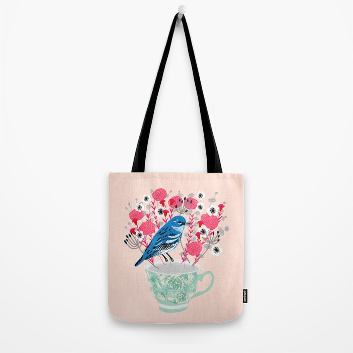 Bird on a Teacup by Andrea Lauren  Tote Bag