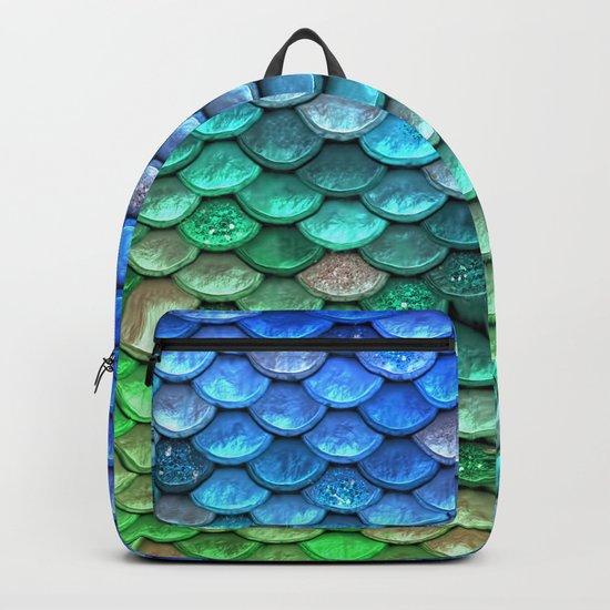 Aqua Teal & green shiny mermaid glitter scales Backpack