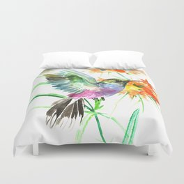 Hummignbird and Flowers Duvet Cover