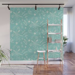 Winter Floral Blue Wall Mural