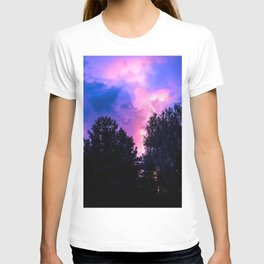 Lightning Thunder Above Forest Purple Shade Ultra HD T-shirt