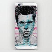 tyler spangler iPhone & iPod Skins featuring Tyler Durden by Bronsolo