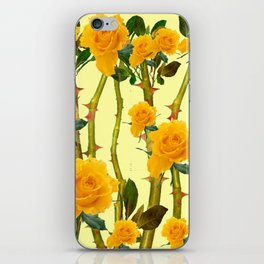 GOLDEN ROSES & THORNY CANES ON  YELLOW iPhone Skin