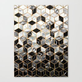 Marble Cubes - Black and White Canvas Print