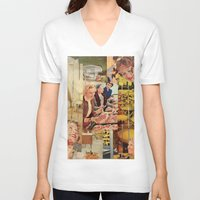 meat V-neck T-shirts featuring Meat Ladies by Katie Anderson Art