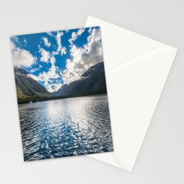 Dramatic clouds in the morning at Milford Sound Stationery Cards