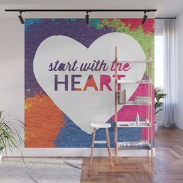 Start With The Heart Quote Print Wall Mural