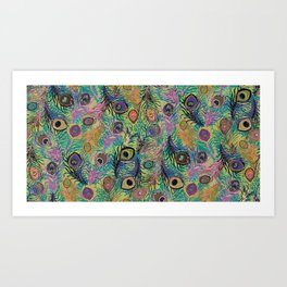 Peacock Feathers in Pink and Green Art Print