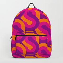 RETRO 60s-70s PURPLE ORANGE PATTERN Backpack
