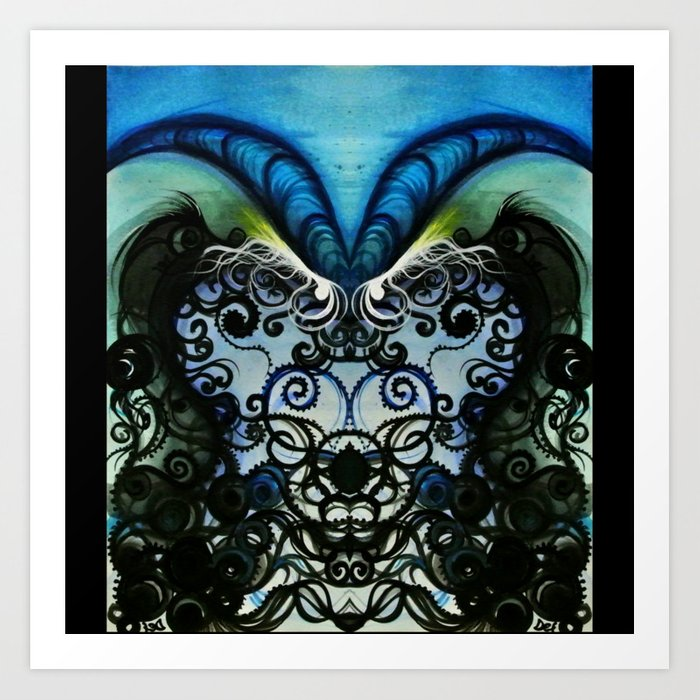 Psychedelic Goat Squid Art Print