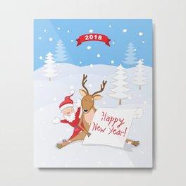 new year santa and deer Metal Print