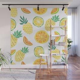 Fresh tropical fruits. Pineapple, orange, lime, grapefruit. Wall Mural