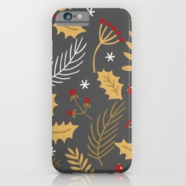 Holly And Winter Berries Grey iPhone Case