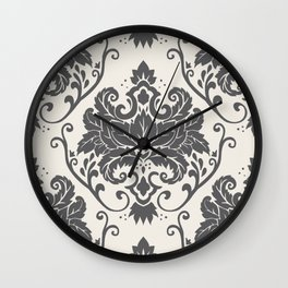 Luxury Floral Damask Pattern – Neutral Dark Gray and Cream Wall Clock
