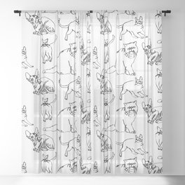 Minimal Black Line Cat Pattern Sheer Curtain