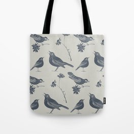 Birds and Daisies, drawing in blue and grey Tote Bag