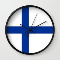 finland Wall Clocks featuring Finland country flag by tony tudor