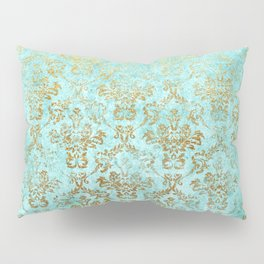 Mermaid Gold Aqua Seafoam Damask Pillow Sham