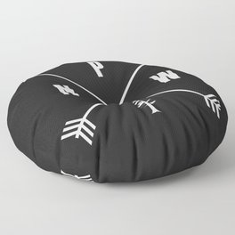 PNW Pacific Northwest Compass - White on Black Minimal Floor Pillow