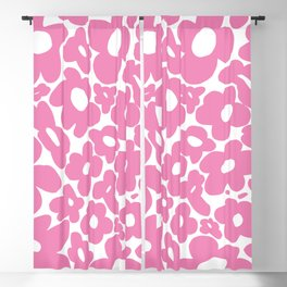 60s 70s Hippy Flowers Pink Blackout Curtain