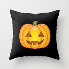 Cute Orange Halloween Pumpkin Illustration Throw Pillow