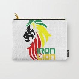 Reggae Rasta, Rastafari Iron, Lion, Zion vector logo design, jamaica colors, reggae music song quote Carry-All Pouch