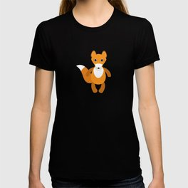 pattern with funny cute fox animal on a blue background T-shirt