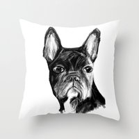 french bulldog Throw Pillows featuring French Bulldog by James Peart