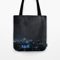 tokyo Tote Bags featuring TOKYO by Olle Goto