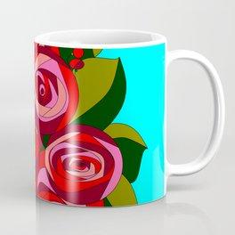 A Bouquet of Big Flowers with a Sky Blue Background Coffee Mug