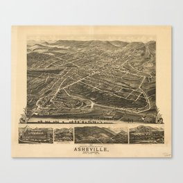 Vintage Pictorial Map of Asheville NC (1891) Canvas Print