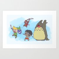 cartoons Art Prints featuring Disney's & other cartoons Fan-Art - Heroes by Kiwii Illustration