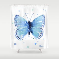 Blue Butterfly Watercolor Butterflies Animals Shower Curtain