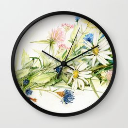 Bouquet of Wildflowers Original Colored Pencil Drawing Wall Clock