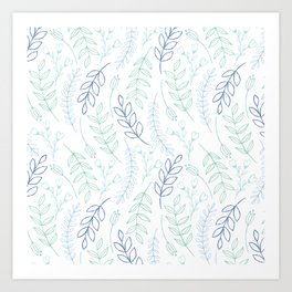 Modern blue green teal watercolor floral leaves Art Print