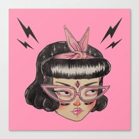loll3 Canvas Prints featuring Gang Girl (black) by lOll3