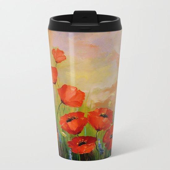 Poppies in the moonlight Metal Travel Mug