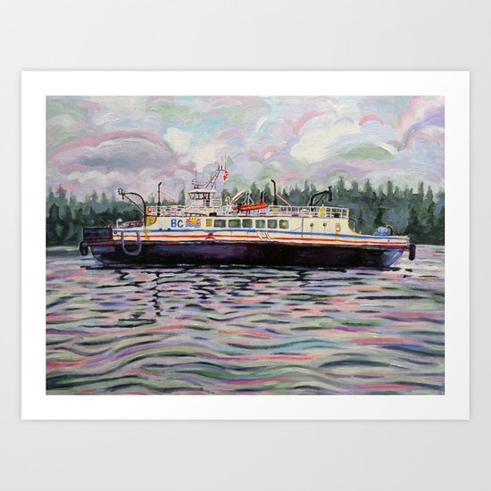 Kahloke - The Hornby Ferry - Coastal Boat Impressionist Art Acrylic on Canvas Art Print