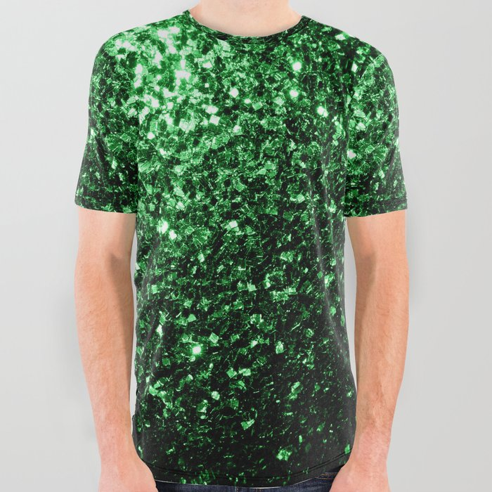 df6382b4e2 Glamour Dark Green glitter sparkles All Over Graphic Tee by pldesign ...