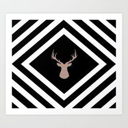Abstract geometric pattern - Deer - black, brown and white. Art Print