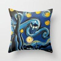 targaryen Throw Pillows featuring Tardis Starry Night by DavinciArt
