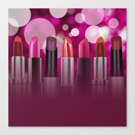 Lipstick Circles Bubbles Cosmetic Cosmetics Canvas Print