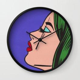 Green Hair Pop Art Girl Wall Clock