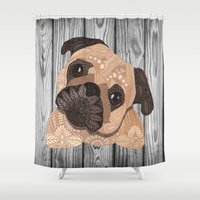 hug Shower Curtains featuring Pug Hug by ArtLovePassion