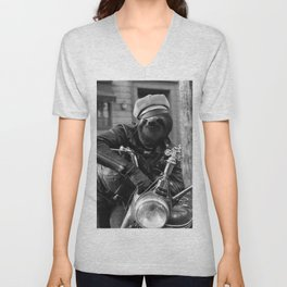 Sloth on a Motorcycle Unisex V-Neck