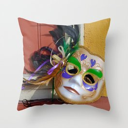 New Orleans Mardi Gras Mask Throw Pillow