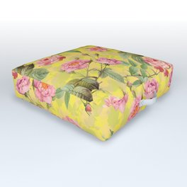 Vintage & Shabby Chic - Summer Yellow Roses Garden Outdoor Floor Cushion